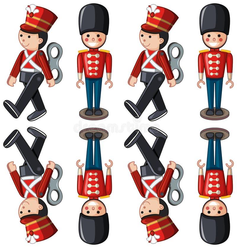 Soldats de jouet dans différentes positions illustration stock