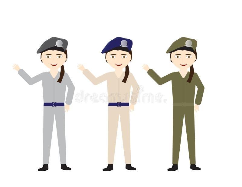 Soldats féminins dans diverses couleurs uniformes ondulant le bonjour illustration de vecteur