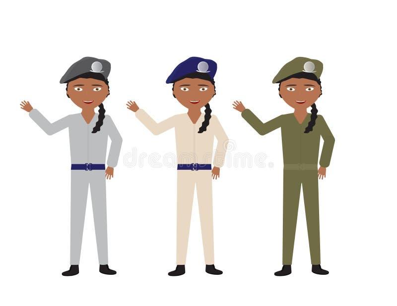 Soldats féminins dans diverses couleurs uniformes ondulant le bonjour illustration stock