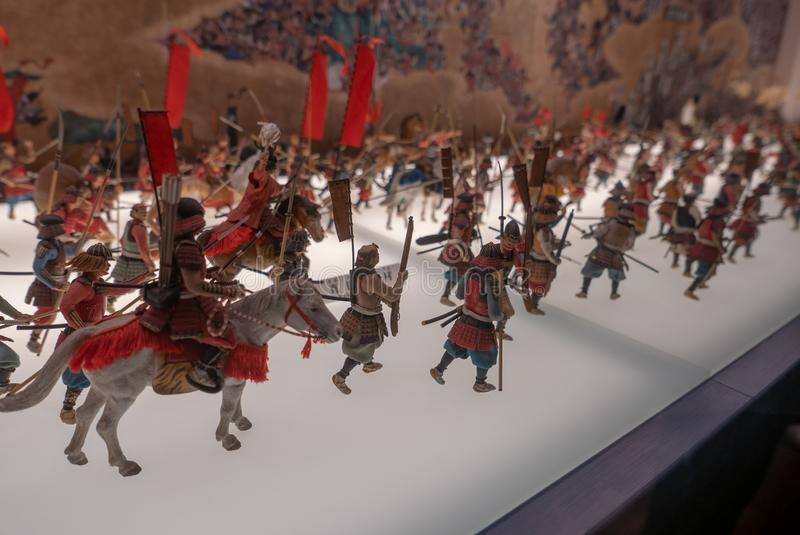 Soldats miniatures au château d'Osaka au Japon photos libres de droits