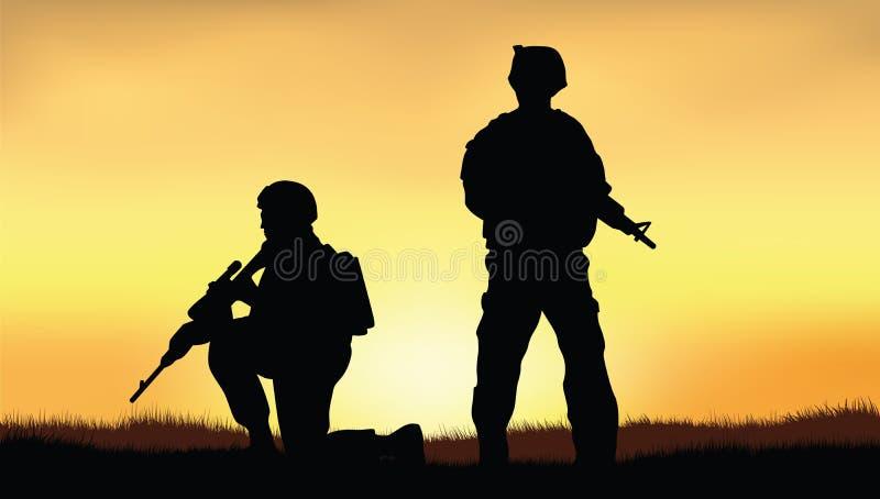 Soldats sur la représentation de la mission de combat illustration stock