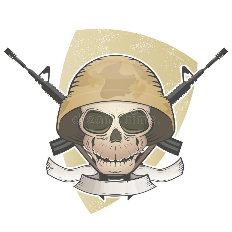 Soldatskalle med korsade vapen royaltyfri illustrationer