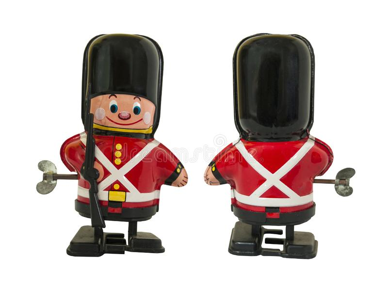 Soldatwachposten-Zinnspielzeug, wickeln oben Spielzeug/lokalisiertes Weiß stockfotografie