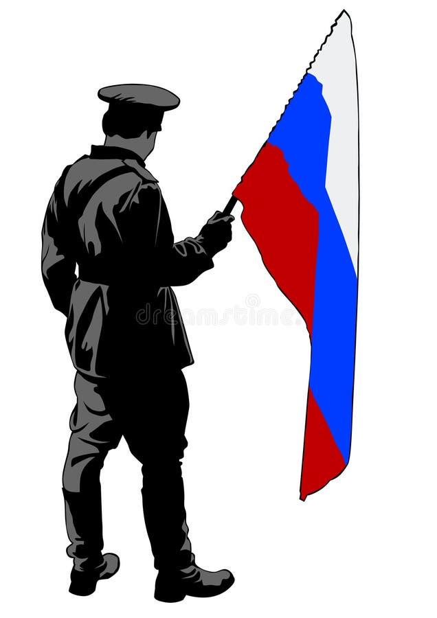 Soldatwhitflagga två royaltyfri illustrationer