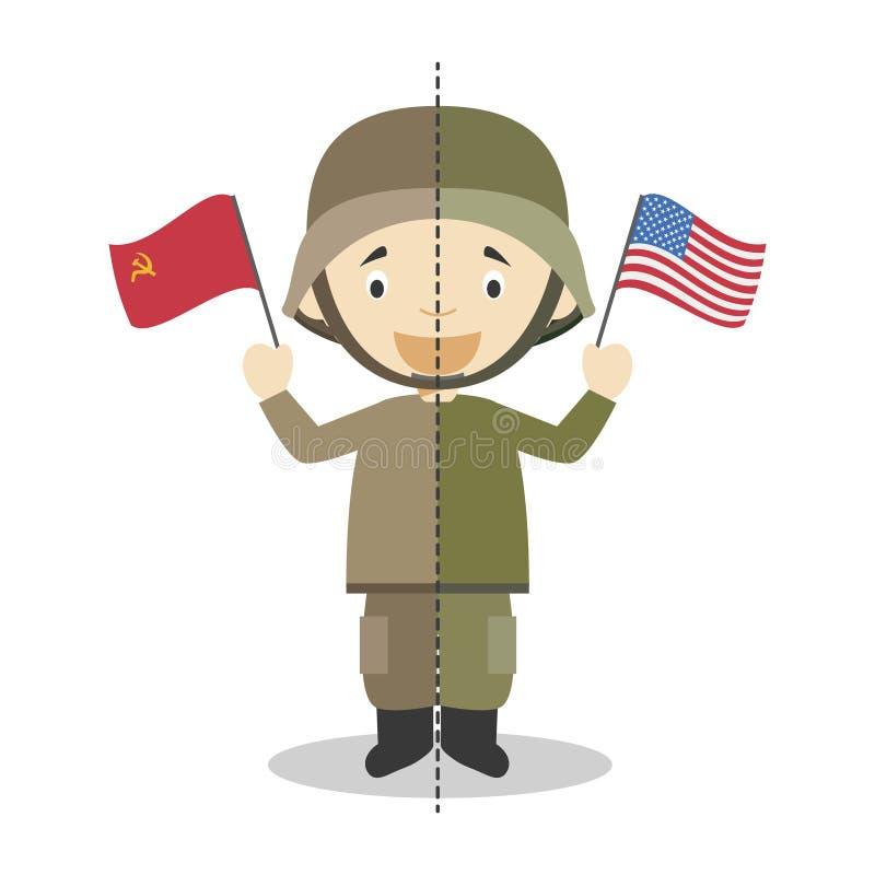 Soldatzeichentrickfilm-figur des kalten Krieges Auch im corel abgehobenen Betrag vektor abbildung