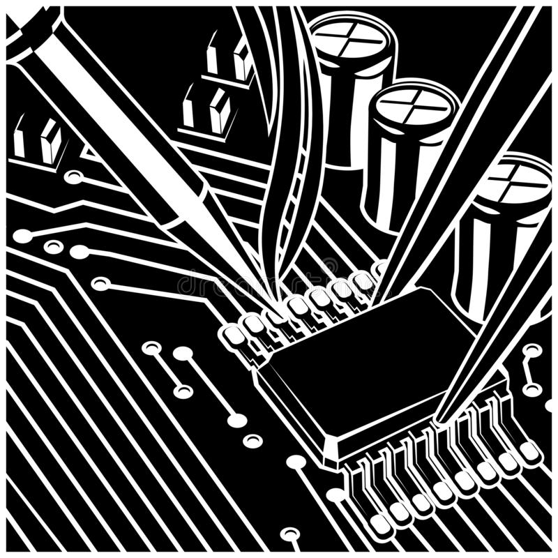 Soldering Computer Chip On The Board. Stylized vector illustration on the theme of circuit design, repair and upgrade of electronic components, soldering chips vector illustration