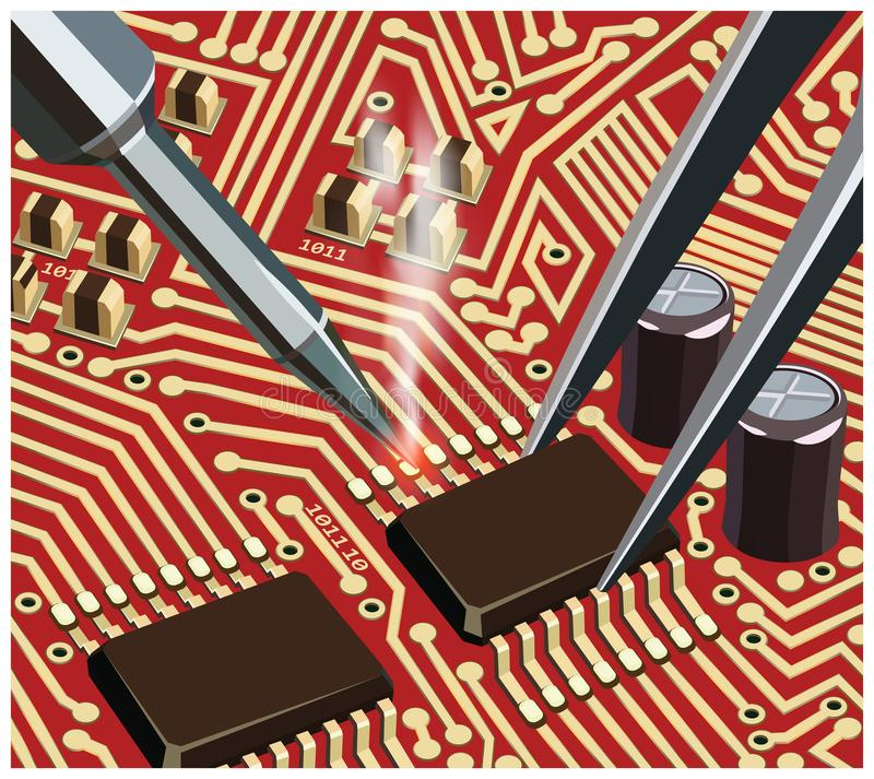 Soldering Computer Chip On The Red Board Close Up. Stylized vector illustration on the theme of circuit design, repair and upgrade of electronic components royalty free illustration