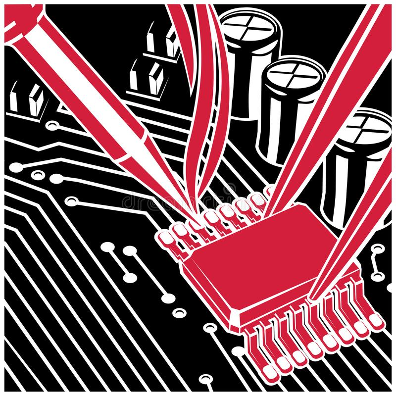 Soldering and Repair Computer Chip On The Board. Stylized vector illustration on the theme of circuit design, repair and upgrade of electronic components vector illustration