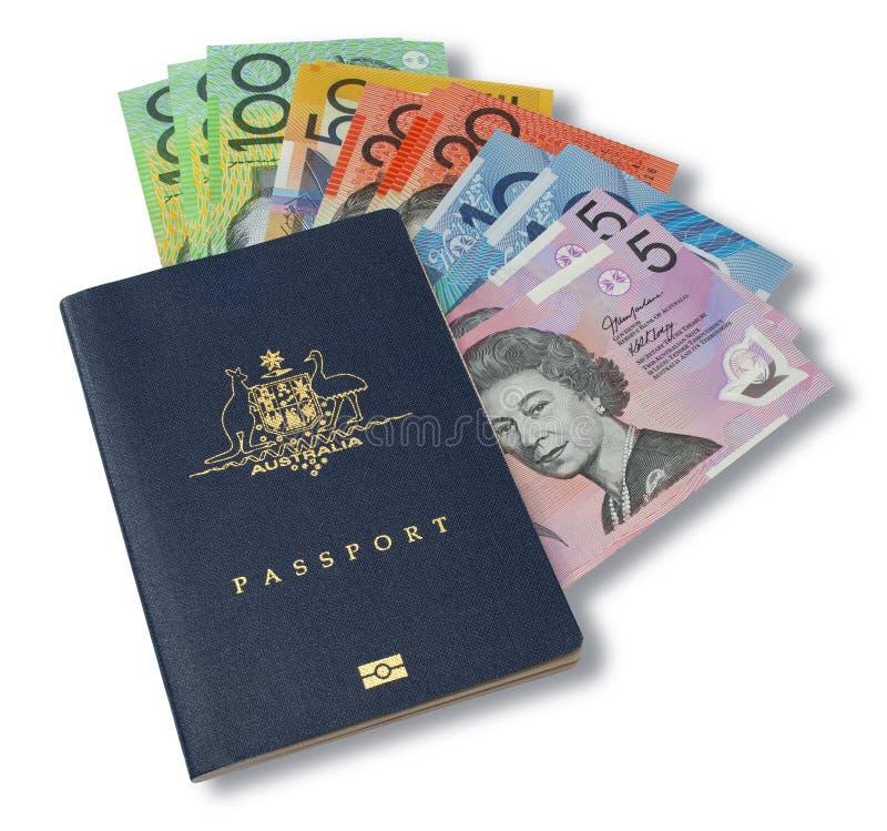 Soldi australiani del passaporto fotografia stock