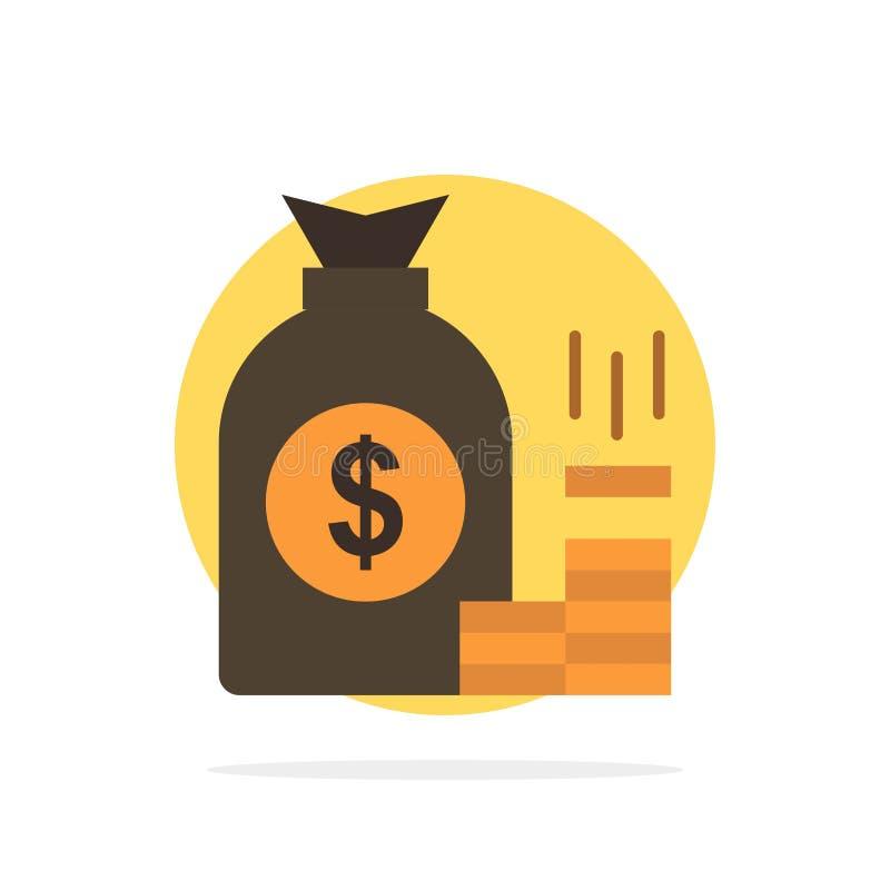 Soldi, borsa, la Banca, finanza, oro, risparmio, icona piana di colore del fondo astratto del cerchio di ricchezza illustrazione vettoriale