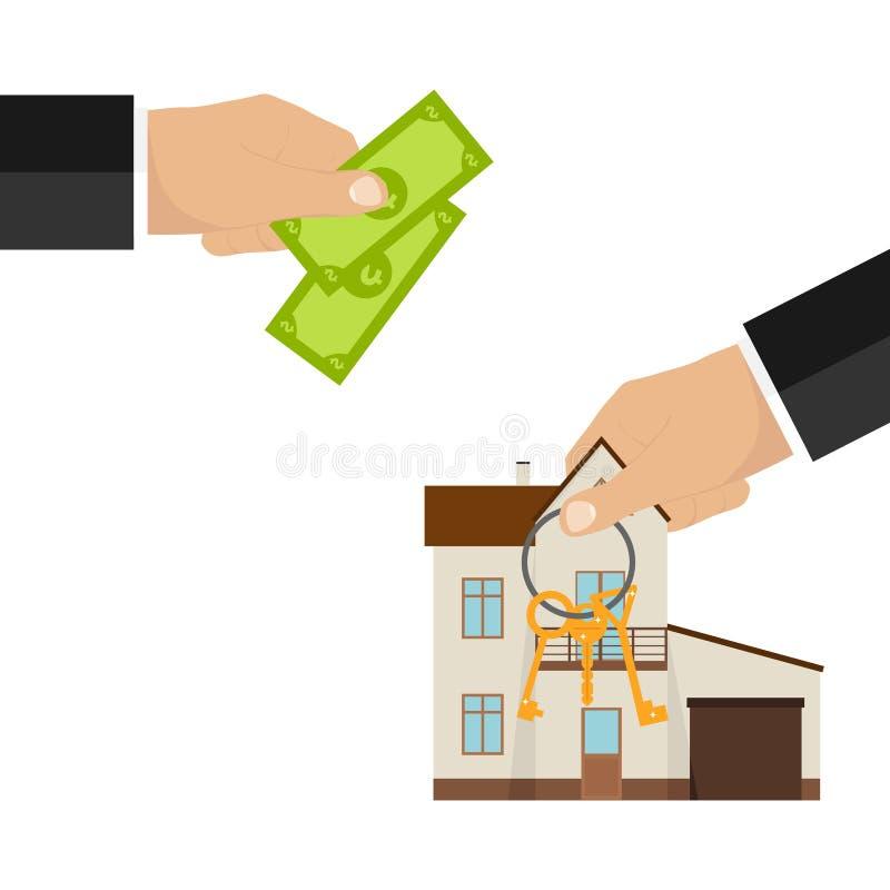 Soldi in cambio del bene immobile Acquisto della proprietà illustrazione vettoriale