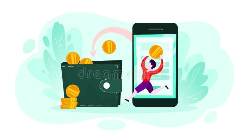 Soldi che cadono dal telefono cellulare in un portafoglio illustrazione vettoriale