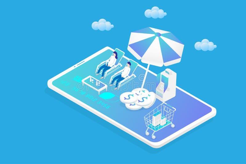 Soldi commercializzanti online di affari e concetto d'atterraggio finanziario della pagina 3d isometrico dello Smart Phone, depos illustrazione di stock