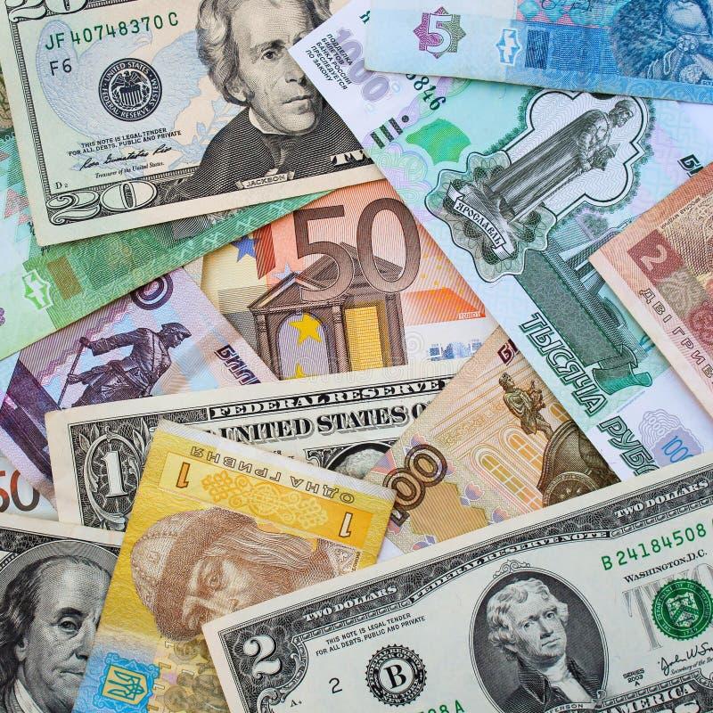 Soldi dai dollari differenti dei paesi, euro, hryvnia, rubli fotografia stock libera da diritti
