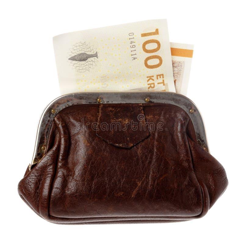Soldi danesi in una borsa immagine stock libera da diritti