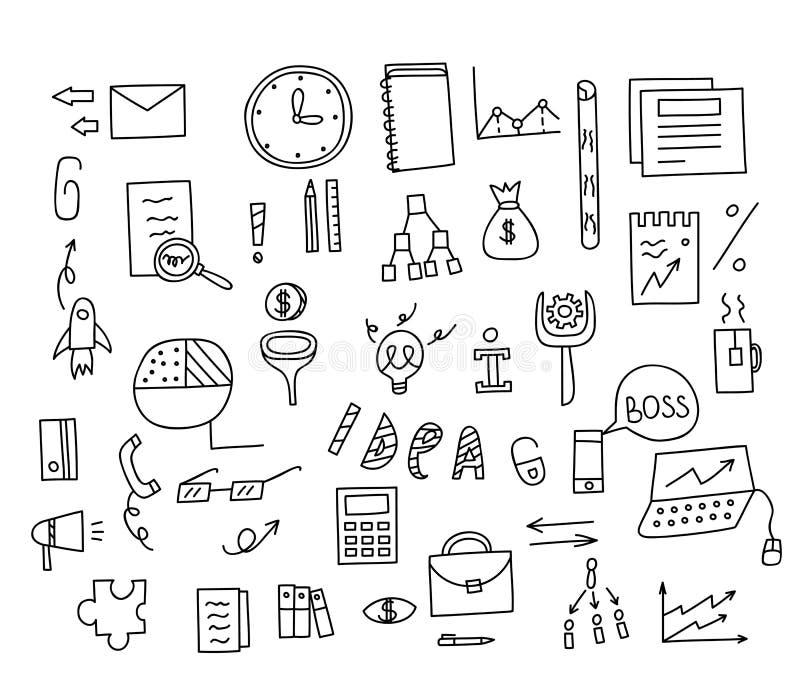 Soldi degli elementi di scarabocchio di tiraggio della mano ed icona della moneta, grafico del grafico illustrazione vettoriale
