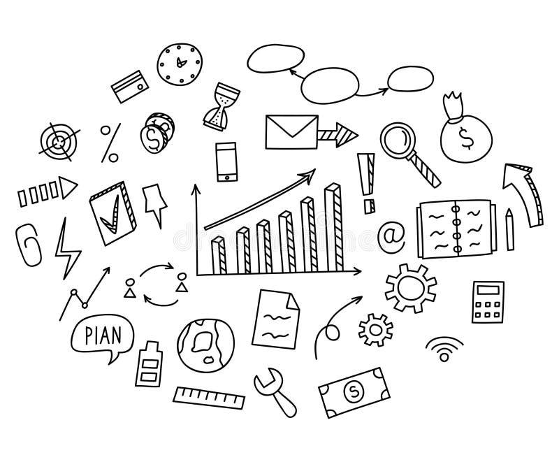 Soldi degli elementi di scarabocchio di tiraggio della mano ed icona della moneta, grafico del grafico illustrazione di stock