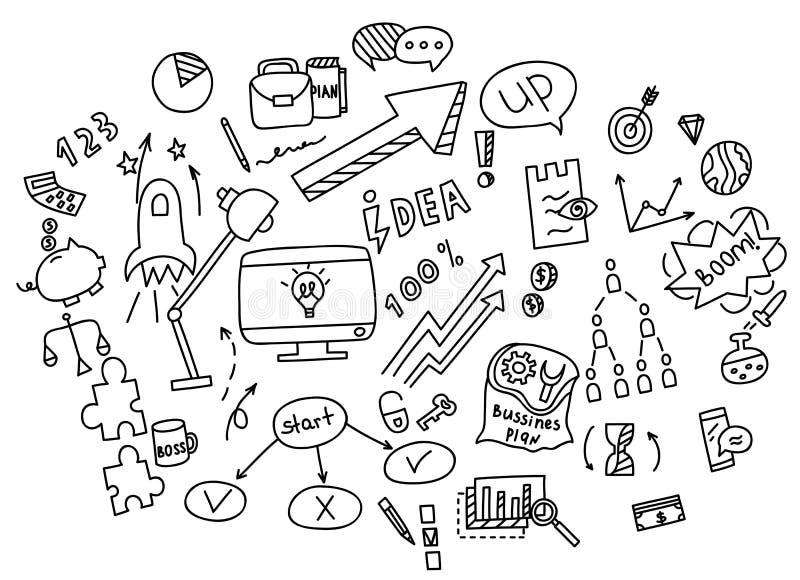 Soldi degli elementi di scarabocchio di tiraggio della mano ed icona della moneta, grafico del grafico Guadagni di finanza di aff illustrazione vettoriale