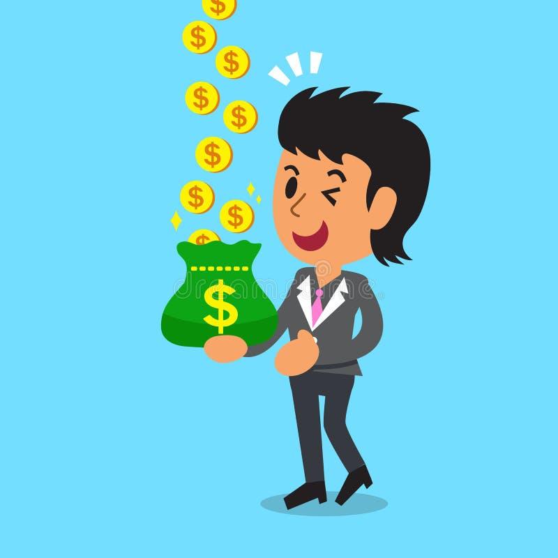 Soldi dei guadagni della donna di affari del fumetto di concetto di affari royalty illustrazione gratis