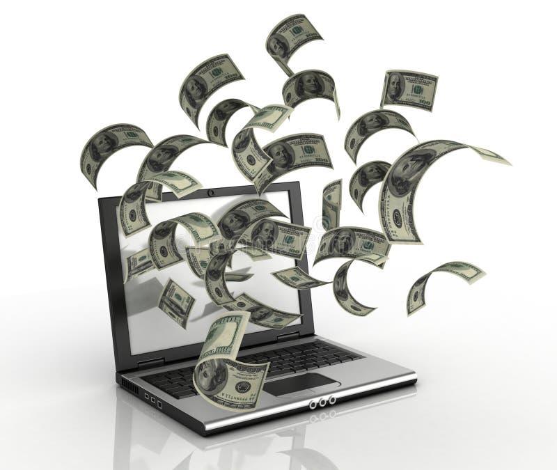 Soldi dei guadagni sopra il Internet illustrazione di stock