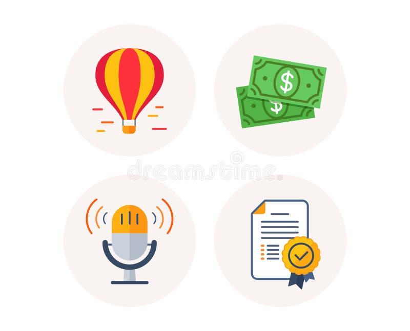 Soldi del dollaro, dell'aerostato e retro icone del microfono Segno del diploma del certificato Vettore illustrazione vettoriale