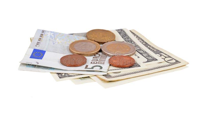 Soldi del dollaro e dell'euro fotografia stock libera da diritti