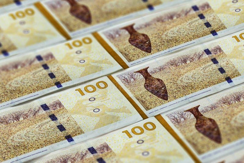 Soldi della Danimarca Cento fondi della corona danese immagini stock libere da diritti
