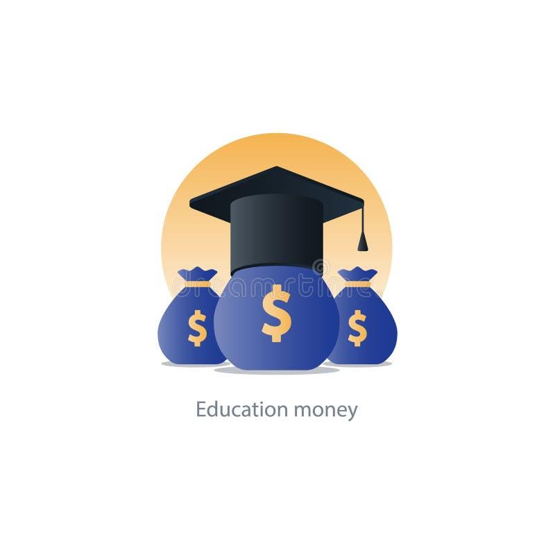 Soldi di concessione della borsa di studio, icona della tassa di istruzione, costo di pagamento royalty illustrazione gratis
