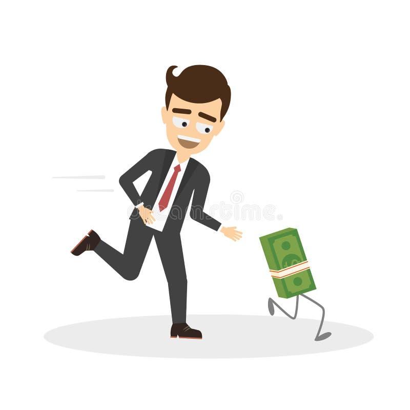 Soldi di inseguimento dell'uomo d'affari illustrazione di stock