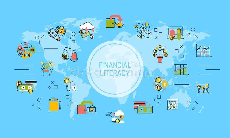 Soldi di risparmio di alfabetizzazione di mondo del fondo finanziario della mappa per l'illustrazione di vettore di concetto di i illustrazione vettoriale