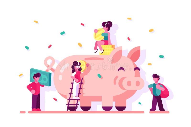 Soldi di risparmio della gente in porcellino salvadanaio illustrazione di stock