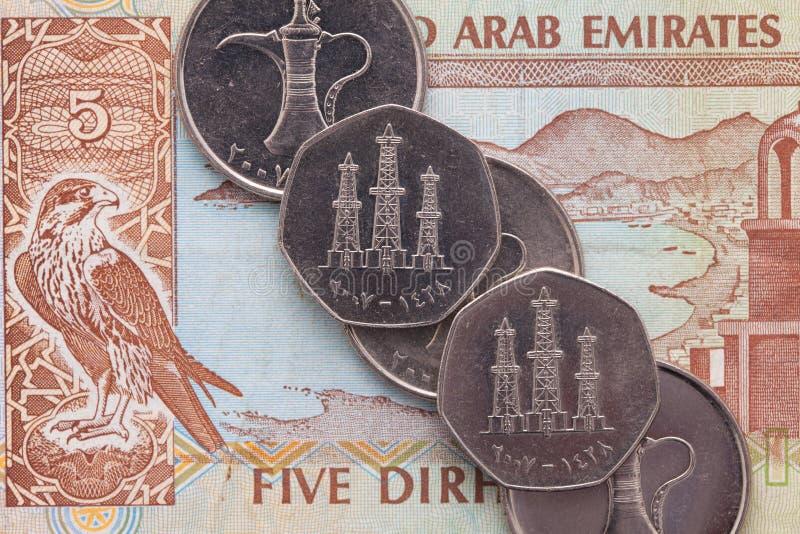 Soldi differenti del dirham arabo degli emirati fotografie stock