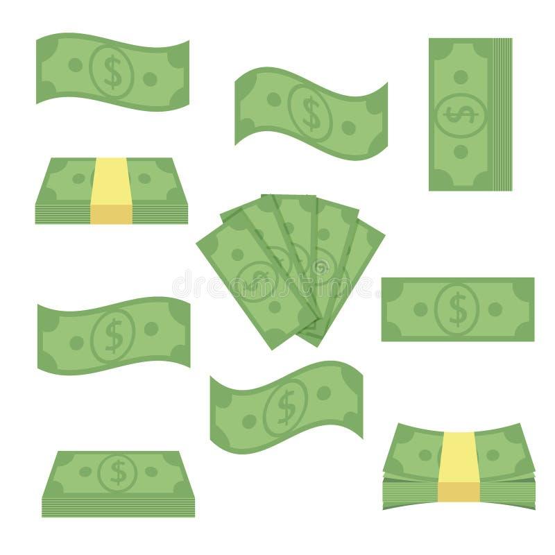 Soldi differenti stabiliti delle banconote Impili le fatture, i contanti del mucchio di finanza - illustrazione piana di vettore  immagine stock libera da diritti