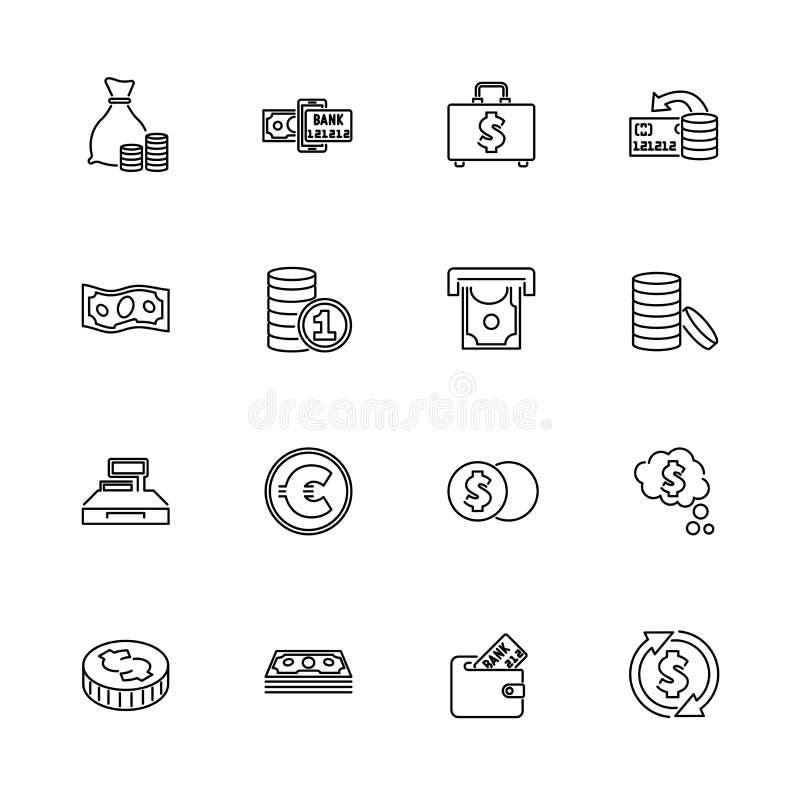 Soldi e finanza - linea piana icone di vettore illustrazione vettoriale