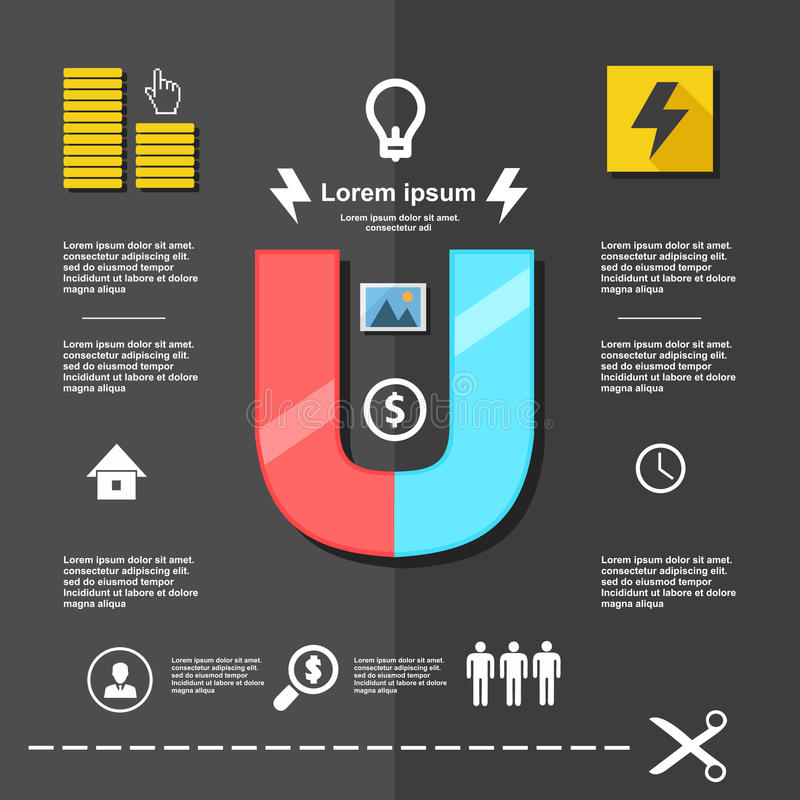 Soldi magnete dell'illustrazione, schema di affari infographic su progettazione piana illustrazione di stock