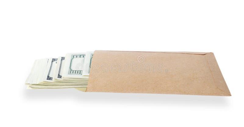 Soldi nel sacco di carta. fotografia stock libera da diritti