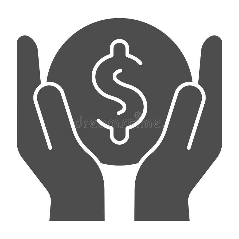Soldi nell'icona solida delle mani Illustrazione di vettore dei guadagni isolata su bianco Progettazione di stile di glifo di ris illustrazione di stock