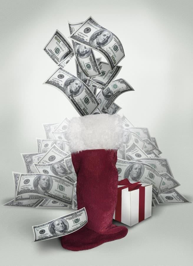Soldi nell'immagazzinamento di Natale fotografia stock libera da diritti