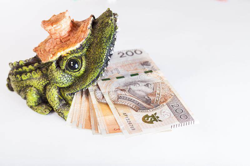Soldi nella bocca del coccodrillo, zloty polacca, PLN fotografie stock