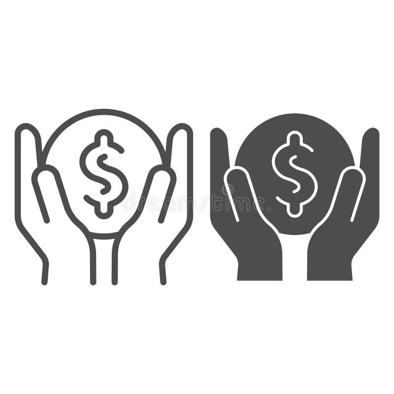 Soldi nella linea di mani e nell'icona di glifo Illustrazione di vettore dei guadagni isolata su bianco Progettazione di stile de royalty illustrazione gratis