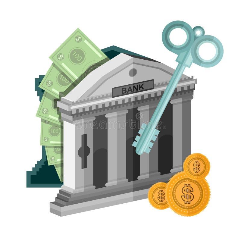 Soldi piani dell'icona di affari di concetto dalla cassaforte della banca con la chiave illustrazione vettoriale