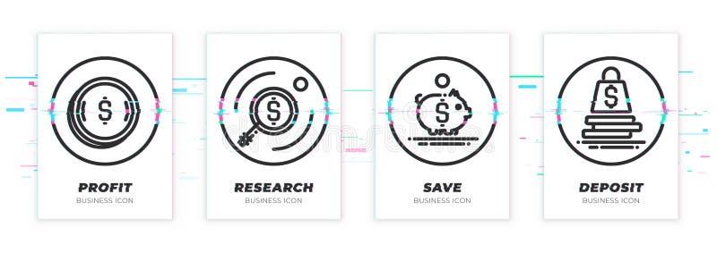 Soldi, ricerca, risparmi, deposito Il tema di affari glitched le icone nere messe illustrazione di stock