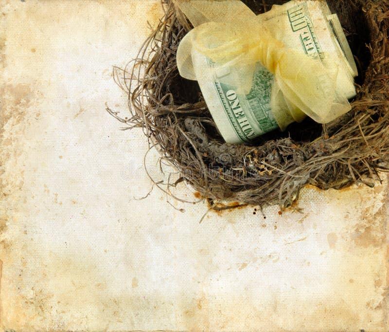 Soldi in un nido su una priorità bassa di Grunge immagine stock libera da diritti
