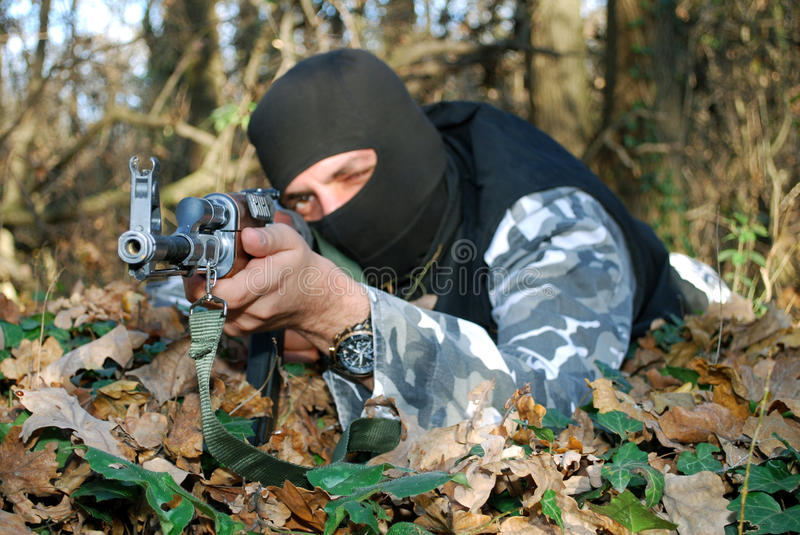 Download Soldier stock photo. Image of maskm, forest, sniper, battle - 16989460