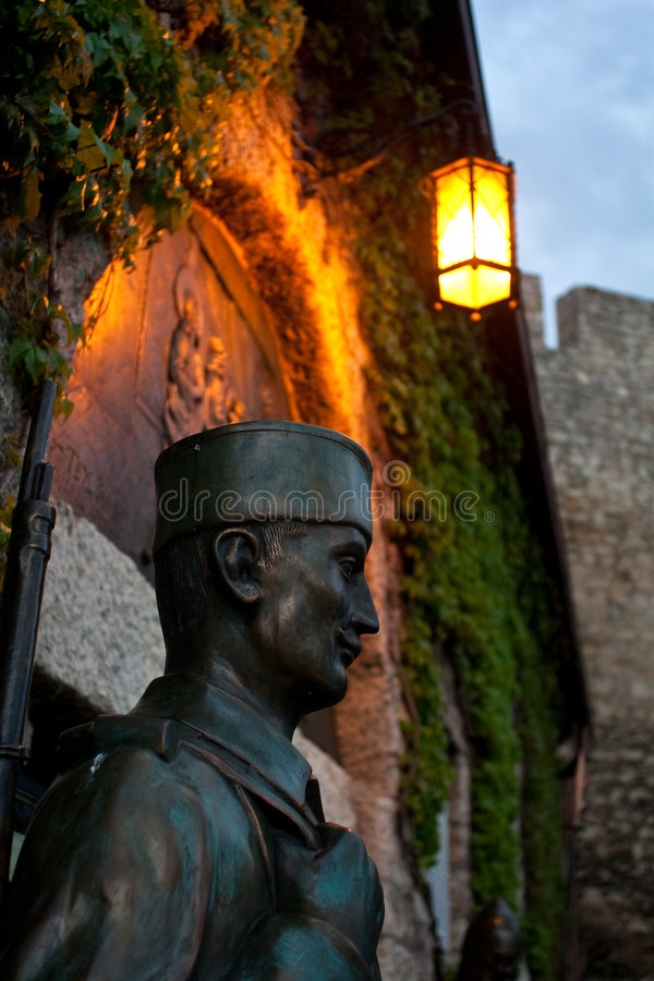 Soldier. Statue of a WWI soldier in front of a church in the fortress of Kalemegdan, Belgrade, Serbia royalty free stock photo