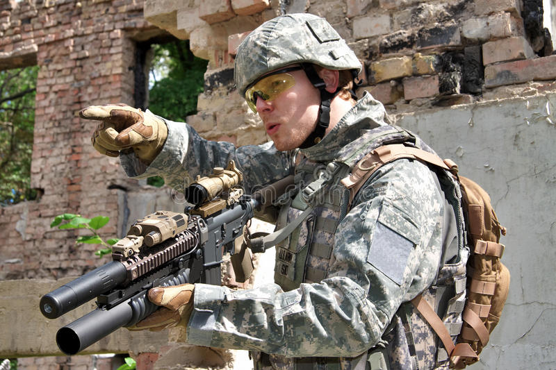 Soldier in action stock photos