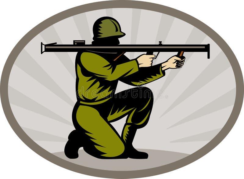 Download Soldier aiming a bazooka stock illustration. Illustration of uniform - 14458042