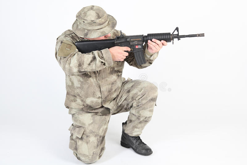 A soldier aiming royalty free stock photography