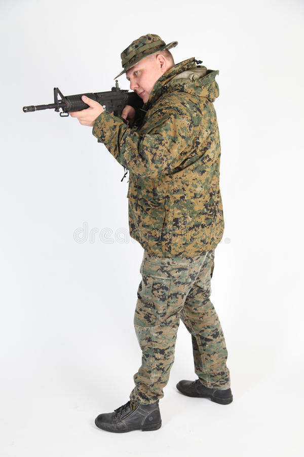 A soldier aiming royalty free stock image