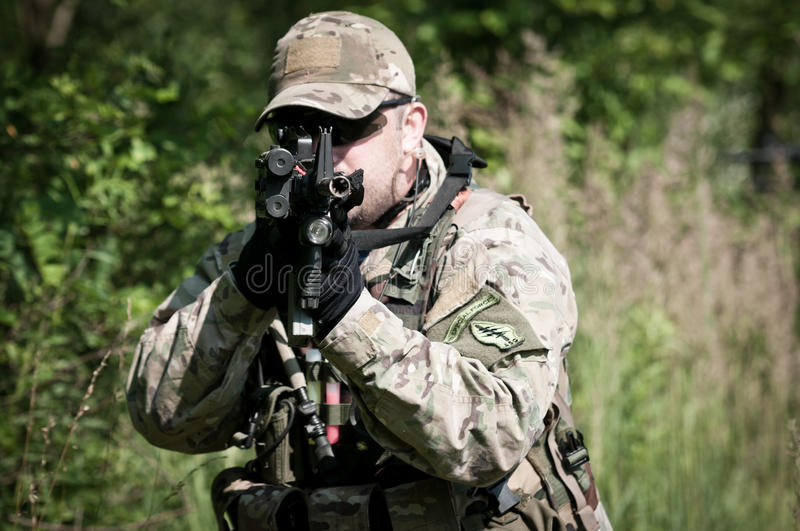 Soldier aiming on enemy royalty free stock photo